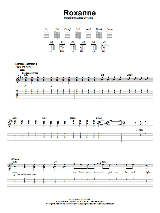 The Police Roxanne sheet music preview music notes and score for Easy Guitar including 4 page(s)