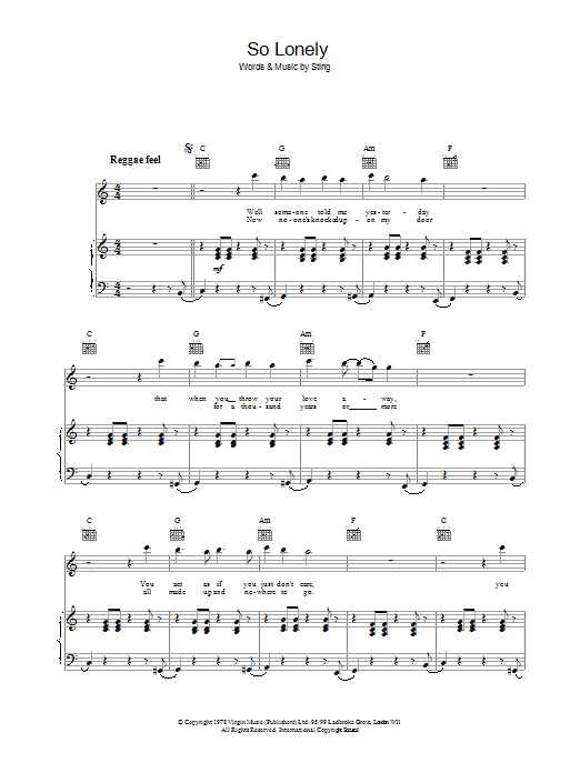 The Police So Lonely sheet music preview music notes and score for Piano, Vocal & Guitar including 4 page(s)