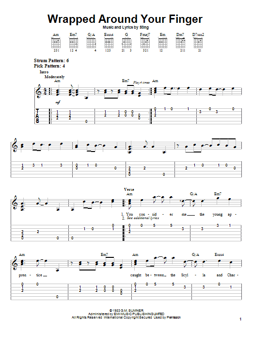 The Police Wrapped Around Your Finger sheet music preview music notes and score for Easy Guitar Tab including 4 page(s)