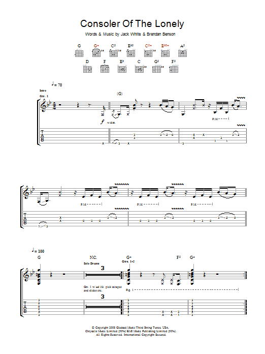 The Raconteurs Consoler Of The Lonely sheet music preview music notes and score for Guitar Tab including 7 page(s)