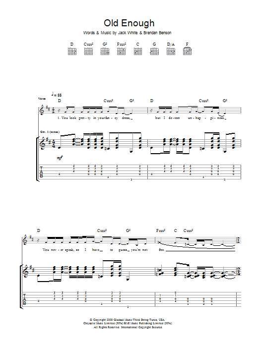 The Raconteurs Old Enough sheet music preview music notes and score for Guitar Tab including 7 page(s)