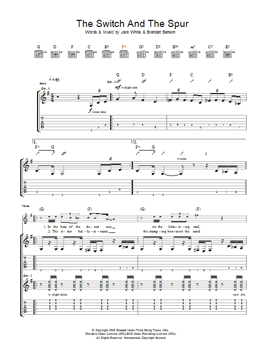 The Raconteurs The Switch And The Spur sheet music preview music notes and score for Guitar Tab including 6 page(s)