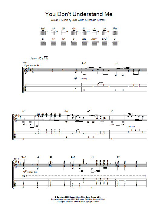 The Raconteurs You Don't Understand Me sheet music preview music notes and score for Guitar Tab including 6 page(s)