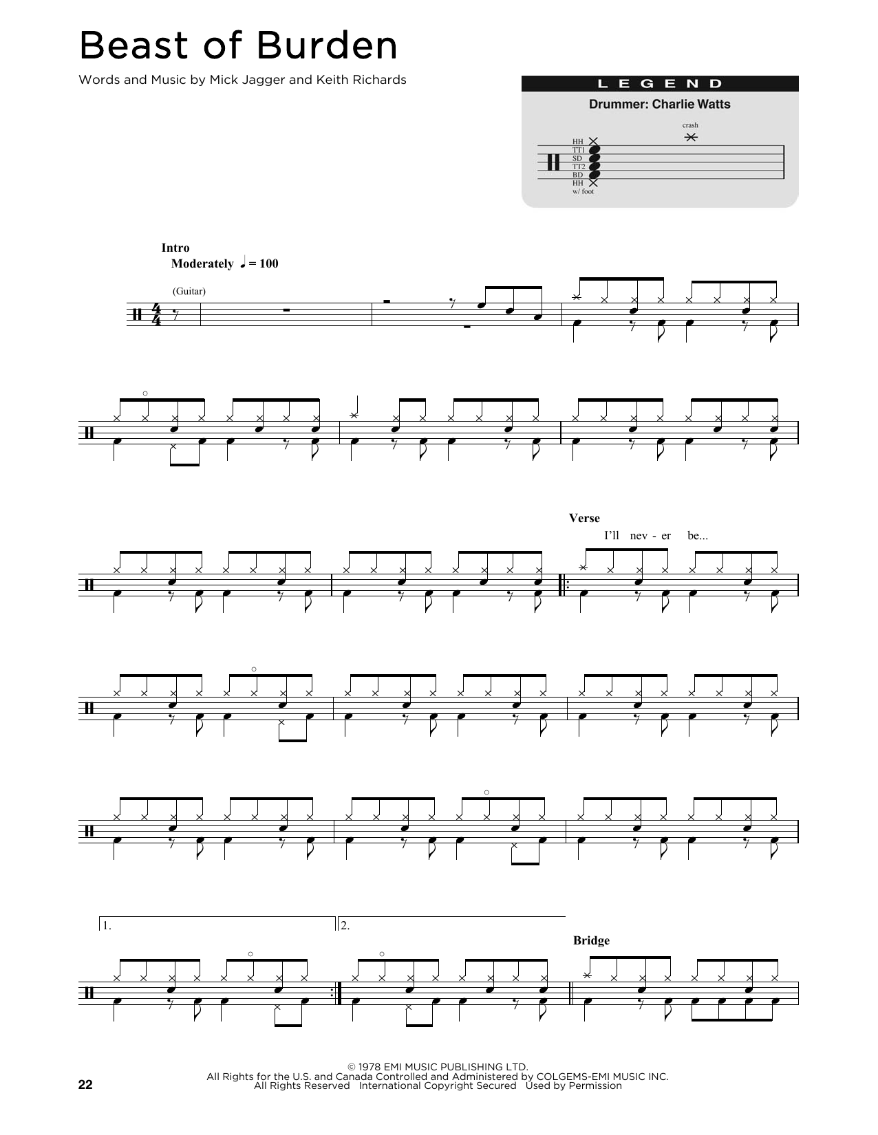 The Rolling Stones Beast Of Burden sheet music notes and chords
