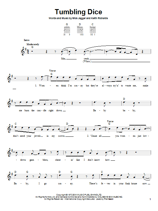 The Rolling Stones Tumbling Dice sheet music preview music notes and score for Easy Guitar including 3 page(s)
