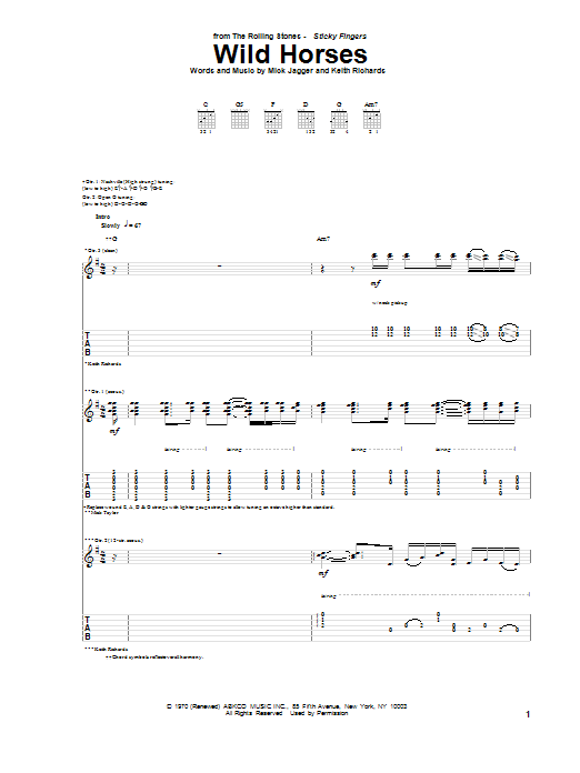 The Rolling Stones Wild Horses sheet music preview music notes and score for E-Z Play Today including 2 page(s)