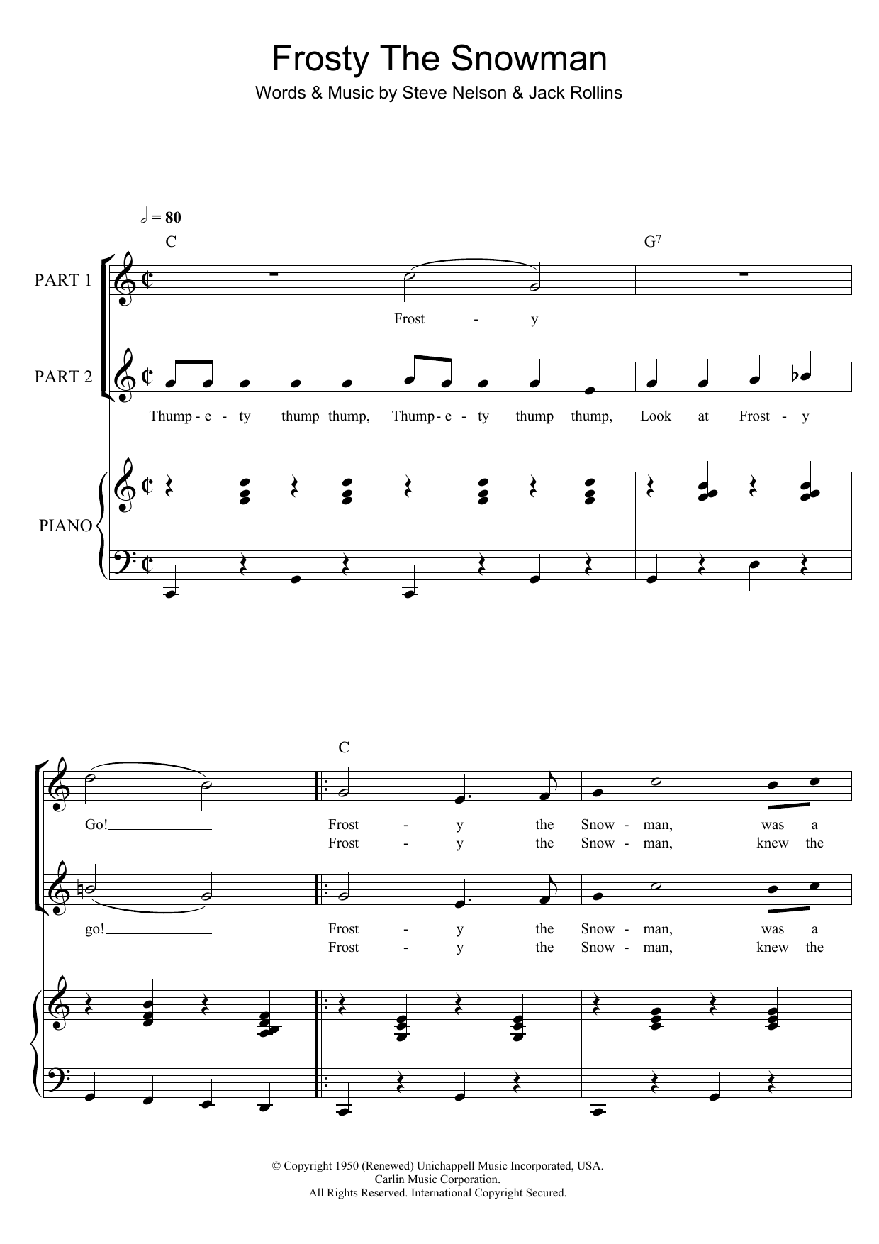 The Ronettes Frosty The Snowman sheet music preview music notes and score for 2-Part Choir including 6 page(s)