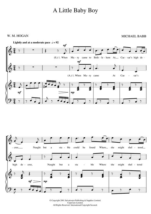 Download The Salvation Army 'A Little Baby Boy' Digital Sheet Music Notes & Chords and start playing in minutes