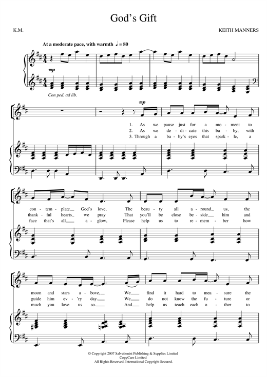 Download The Salvation Army 'God's Gift' Digital Sheet Music Notes & Chords and start playing in minutes