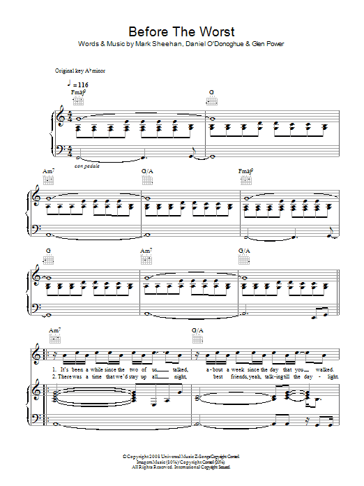 The Script Before The Worst sheet music preview music notes and score for Piano, Vocal & Guitar including 6 page(s)