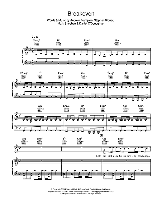Download The Script 'Breakeven' Digital Sheet Music Notes & Chords and start playing in minutes