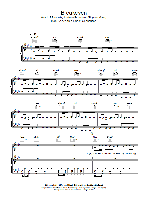 The Script Breakeven sheet music preview music notes and score for Piano, Vocal & Guitar including 7 page(s)