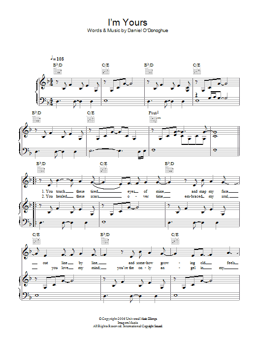 The Script I'm Yours sheet music preview music notes and score for Piano, Vocal & Guitar including 4 page(s)