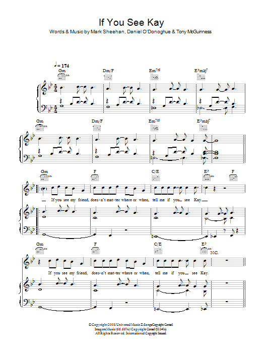 The Script If You See Kay sheet music preview music notes and score for Piano, Vocal & Guitar including 5 page(s)