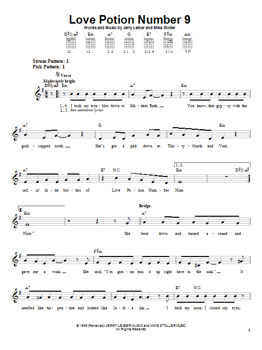 The Searchers Love Potion Number 9 sheet music notes and chords
