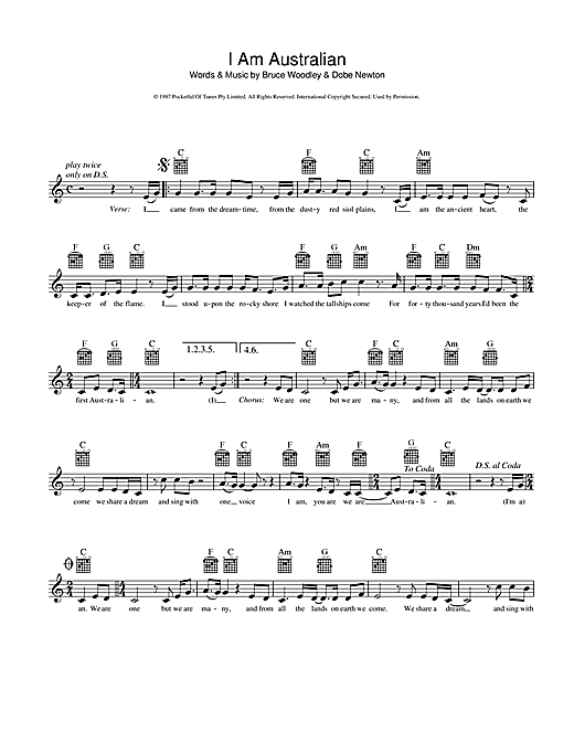 The Seekers I Am Australian sheet music preview music notes and score for Melody Line, Lyrics & Chords including 2 page(s)