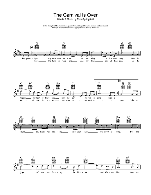 The Seekers The Carnival Is Over sheet music preview music notes and score for Melody Line, Lyrics & Chords including 2 page(s)