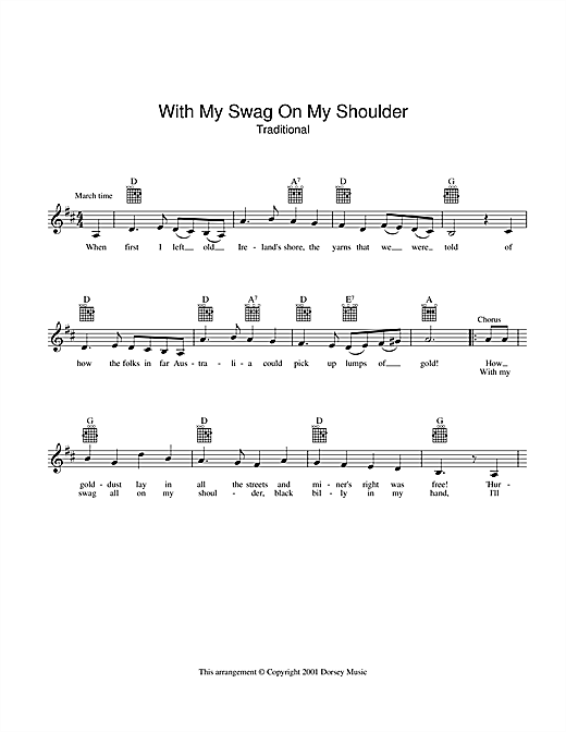 The Seekers With My Swag On My Shoulder sheet music preview music notes and score for Melody Line, Lyrics & Chords including 2 page(s)