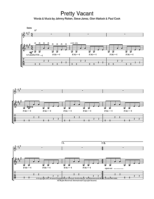 The Sex Pistols Pretty Vacant sheet music notes and chords