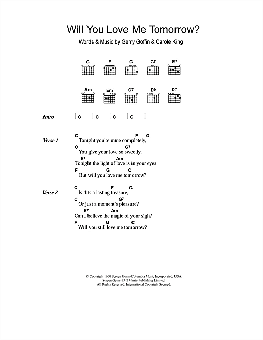 The Shirelles Will You Love Me Tomorrow sheet music notes and chords