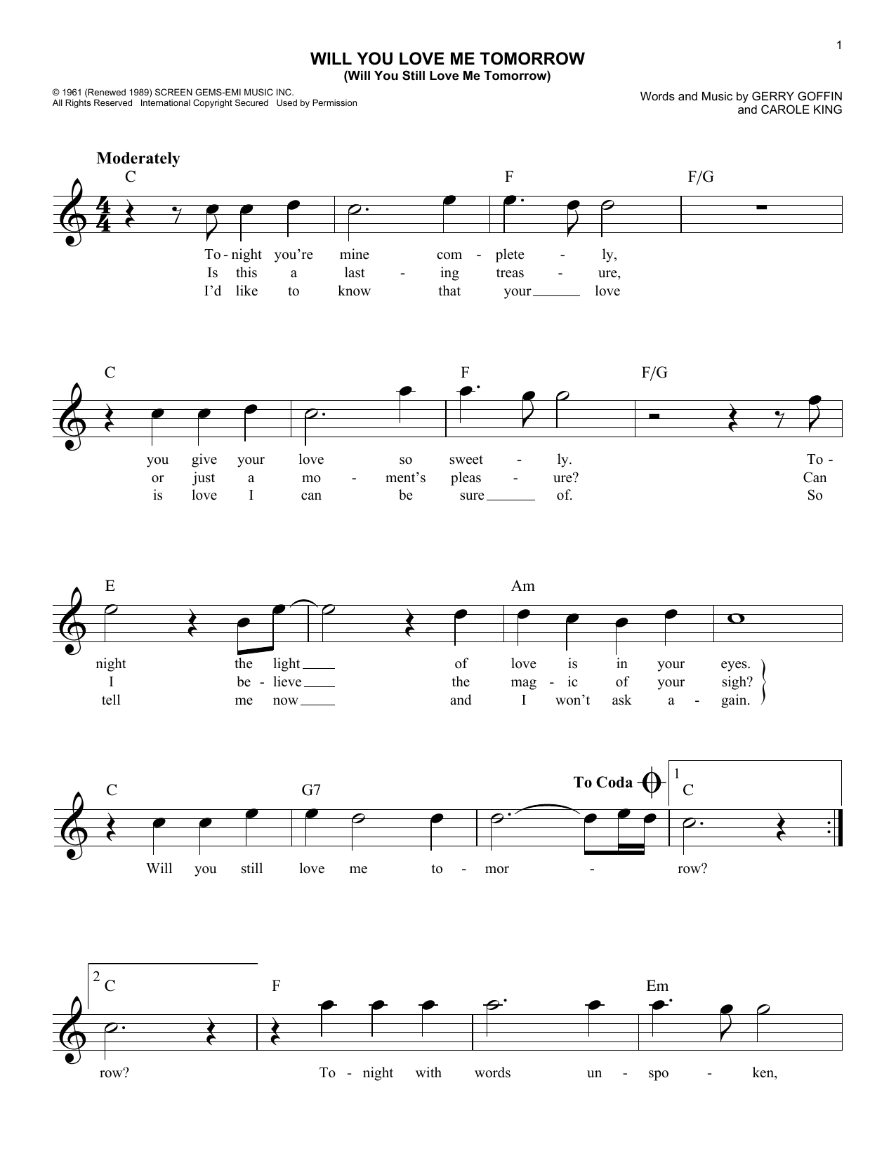 The Shirelles Will You Love Me Tomorrow (Will You Still Love Me Tomorrow) sheet music notes and chords