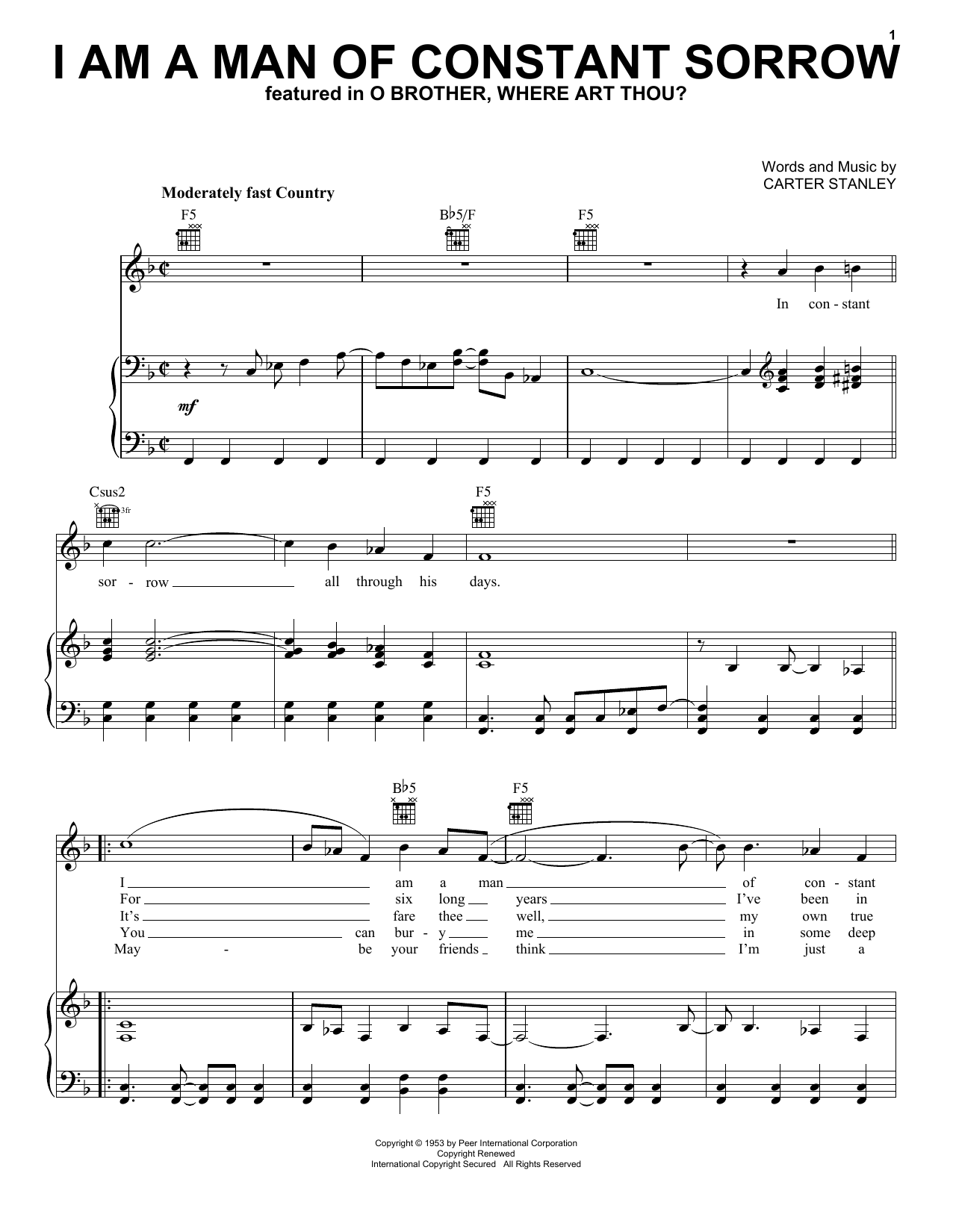 The Soggy Bottom Boys I Am A Man Of Constant Sorrow sheet music preview music notes and score for Piano (Big Notes) including 3 page(s)