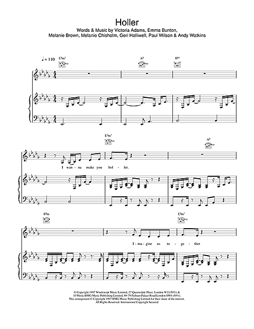The Spice Girls Holler sheet music notes and chords