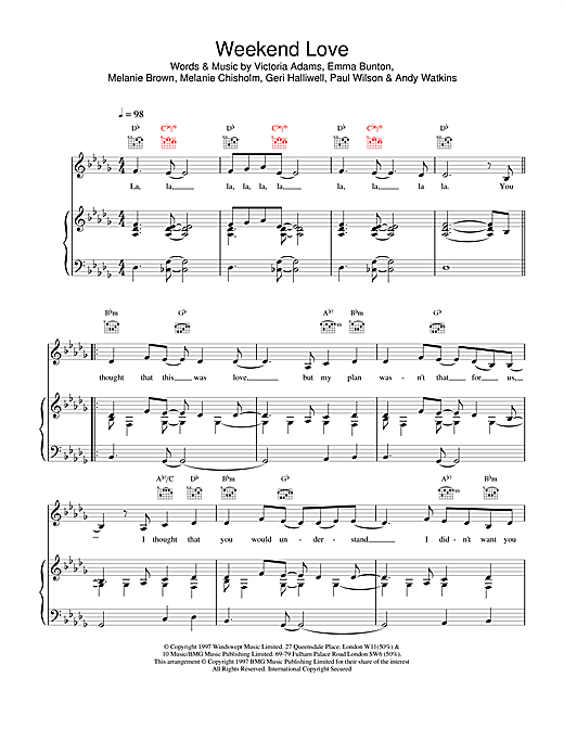 The Spice Girls Weekend Love sheet music notes and chords