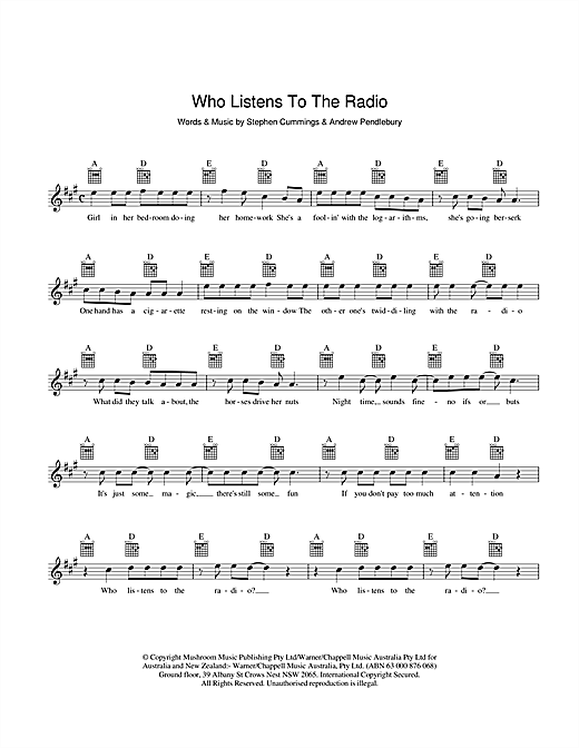 The Sports Who Listens To The Radio sheet music preview music notes and score for Melody Line, Lyrics & Chords including 2 page(s)