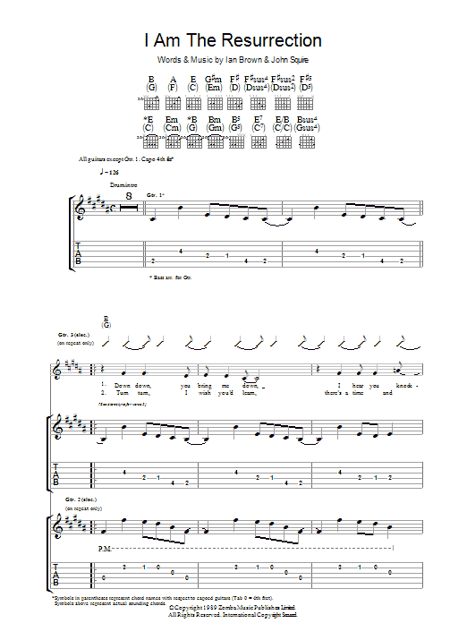 The Stone Roses I Am The Resurrection sheet music preview music notes and score for Piano, Vocal & Guitar including 4 page(s)