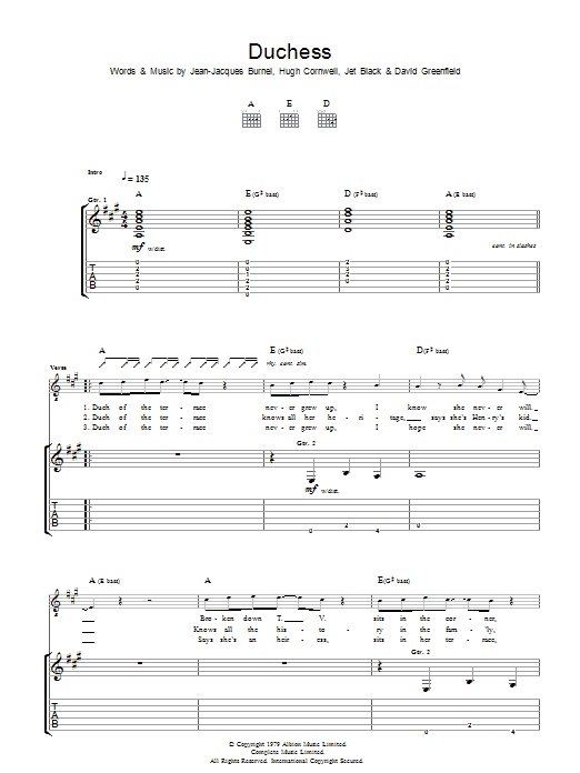 The Stranglers Duchess sheet music preview music notes and score for Guitar Tab including 3 page(s)