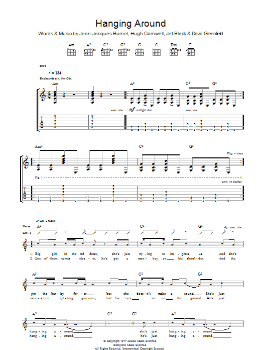 The Stranglers Hanging Around sheet music preview music notes and score for Guitar Tab including 5 page(s)