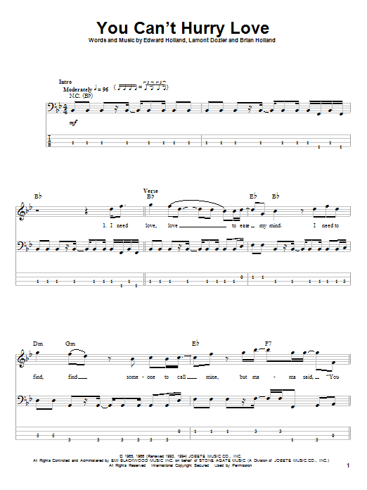 Download The Supremes 'You Can't Hurry Love' Digital Sheet Music Notes & Chords and start playing in minutes