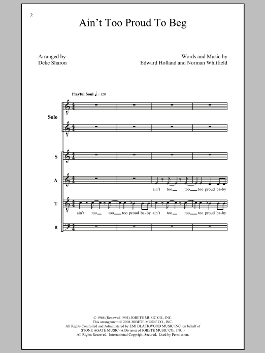 The Temptations Ain't Too Proud To Beg (arr. Deke Sharon) sheet music preview music notes and score for SATB including 10 page(s)