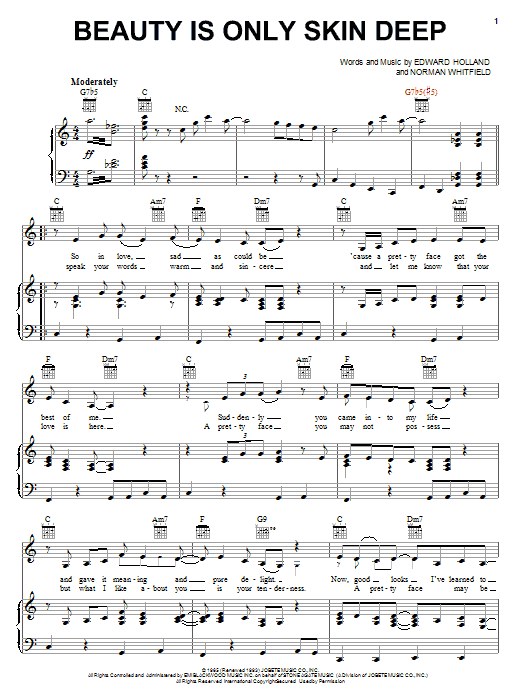 The Temptations Beauty Is Only Skin Deep sheet music preview music notes and score for Piano, Vocal & Guitar (Right-Hand Melody) including 4 page(s)
