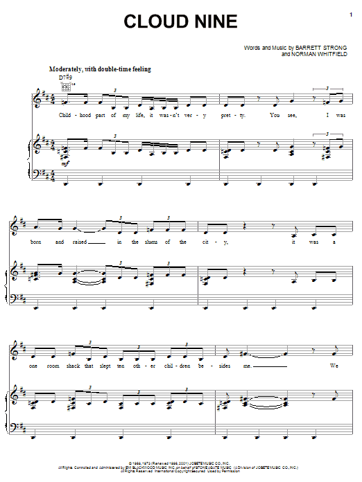 The Temptations Cloud Nine sheet music preview music notes and score for Piano, Vocal & Guitar (Right-Hand Melody) including 7 page(s)