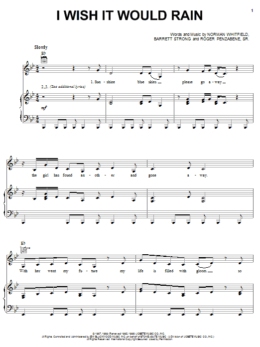 The Temptations I Wish It Would Rain sheet music preview music notes and score for Piano, Vocal & Guitar (Right-Hand Melody) including 3 page(s)