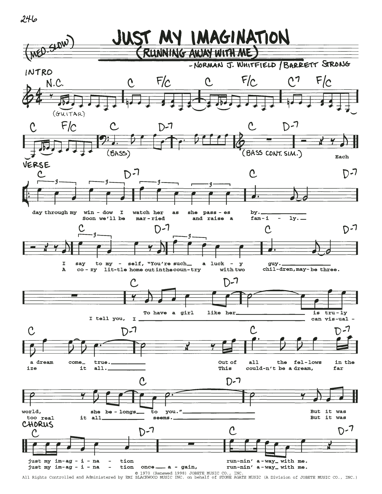 The Temptations Just My Imagination (Running Away With Me) sheet music notes and chords