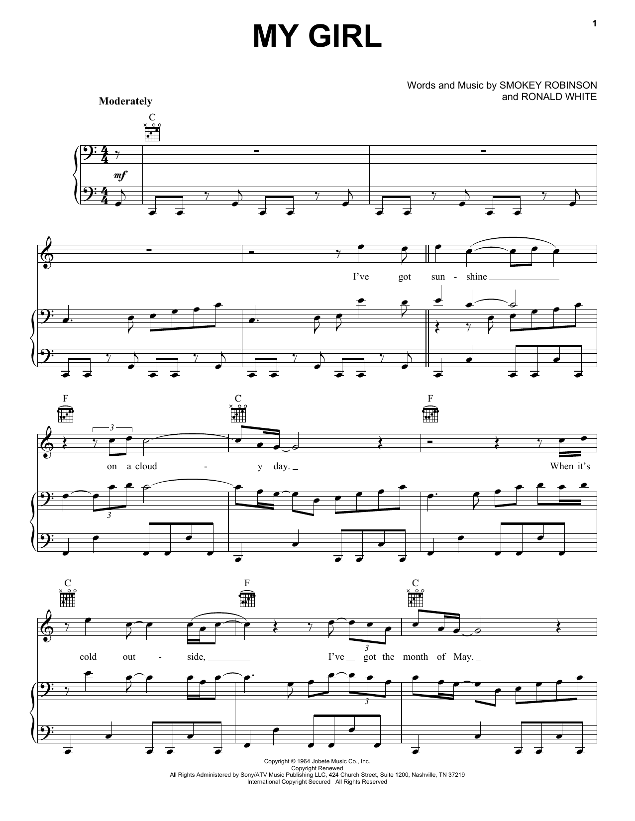 The Temptations My Girl sheet music preview music notes and score for Guitar Tab including 6 page(s)