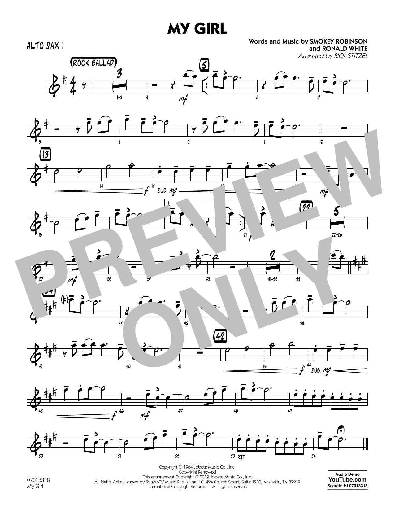 The Temptations My Girl (arr. Rick Stitzel) - Alto Sax 1 sheet music preview music notes and score for Jazz Ensemble including 1 page(s)