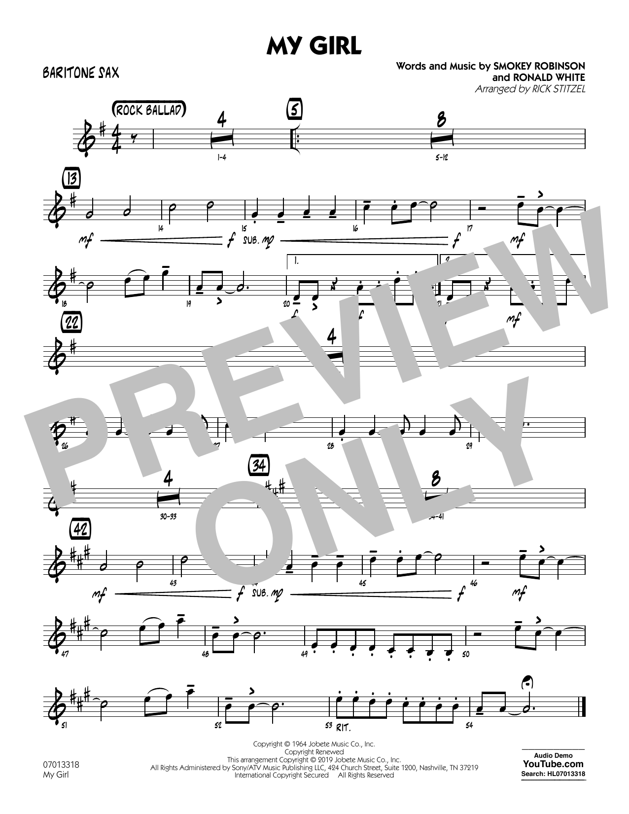 The Temptations My Girl (arr. Rick Stitzel) - Baritone Sax sheet music preview music notes and score for Jazz Ensemble including 1 page(s)