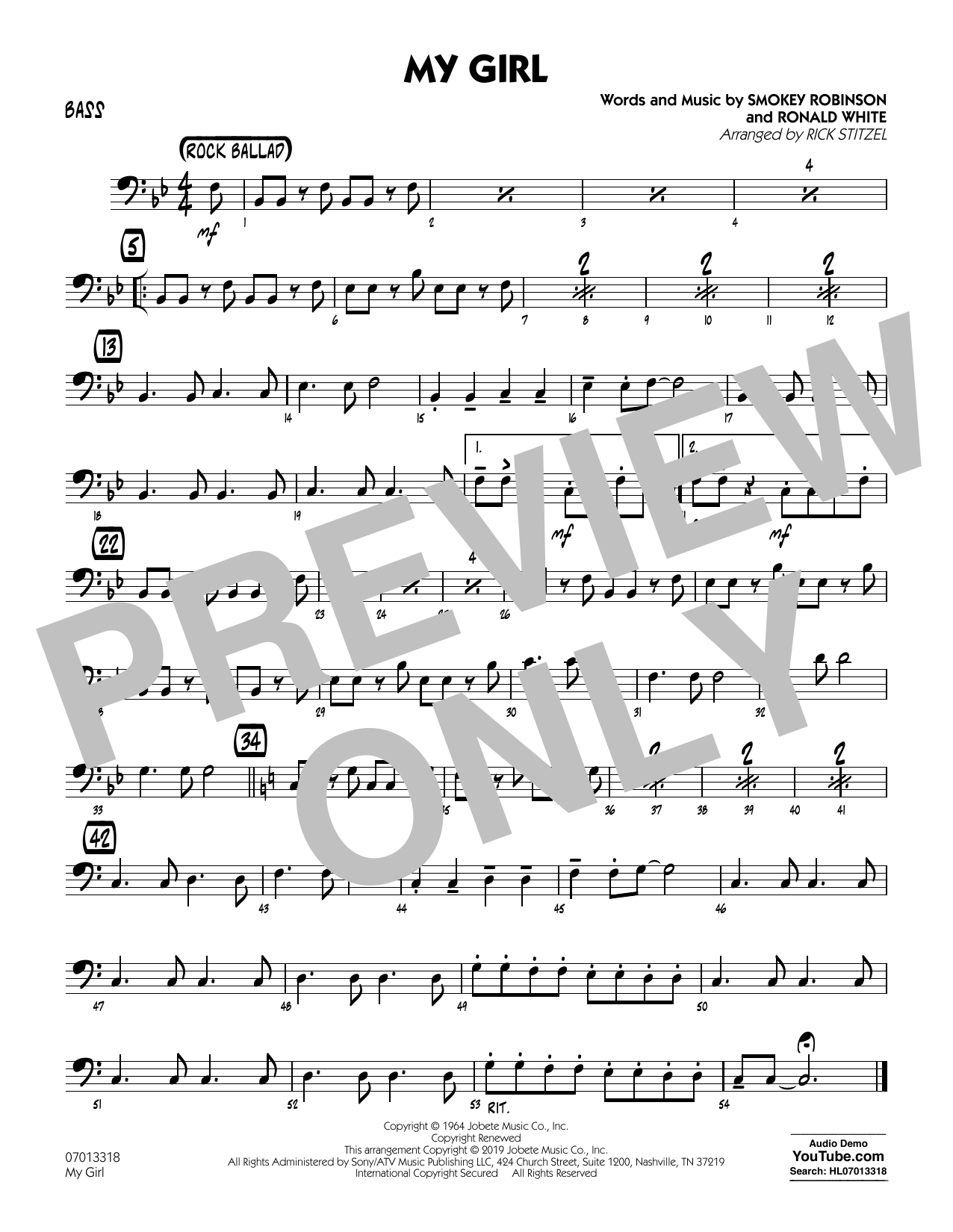 The Temptations My Girl (arr. Rick Stitzel) - Bass sheet music preview music notes and score for Jazz Ensemble including 1 page(s)