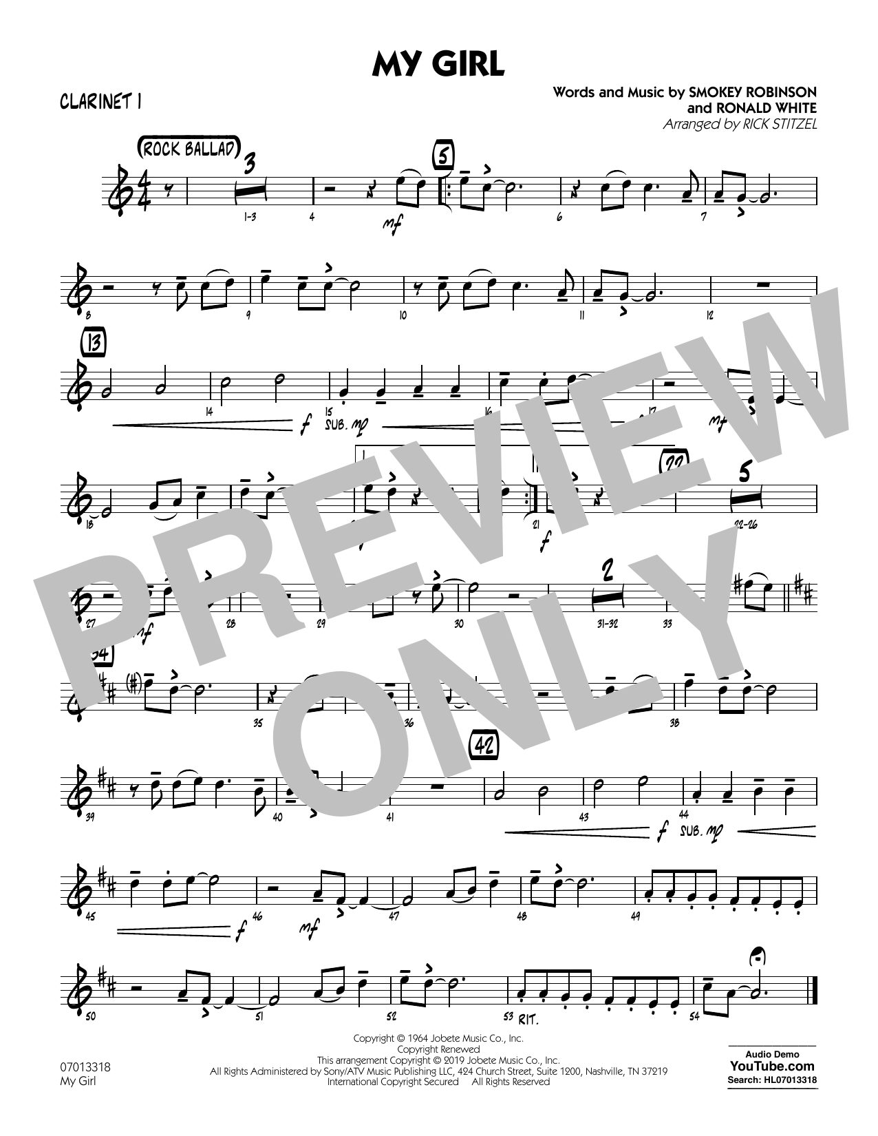 The Temptations My Girl (arr. Rick Stitzel) - Bb Clarinet 1 sheet music preview music notes and score for Jazz Ensemble including 1 page(s)