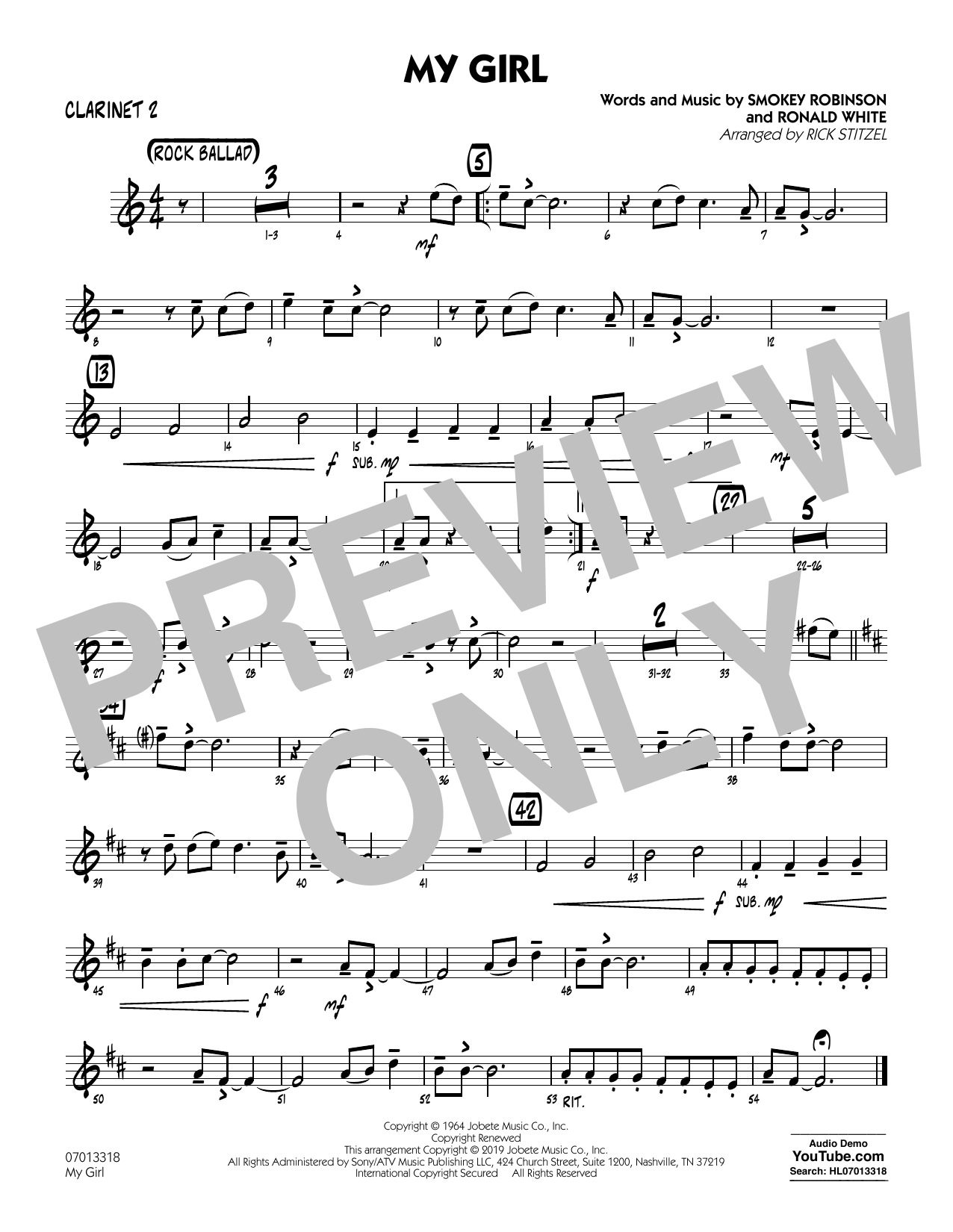 The Temptations My Girl (arr. Rick Stitzel) - Bb Clarinet 2 sheet music preview music notes and score for Jazz Ensemble including 1 page(s)
