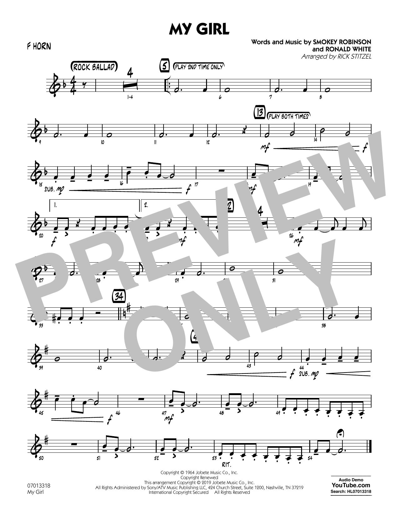 The Temptations My Girl (arr. Rick Stitzel) - F Horn sheet music preview music notes and score for Jazz Ensemble including 1 page(s)