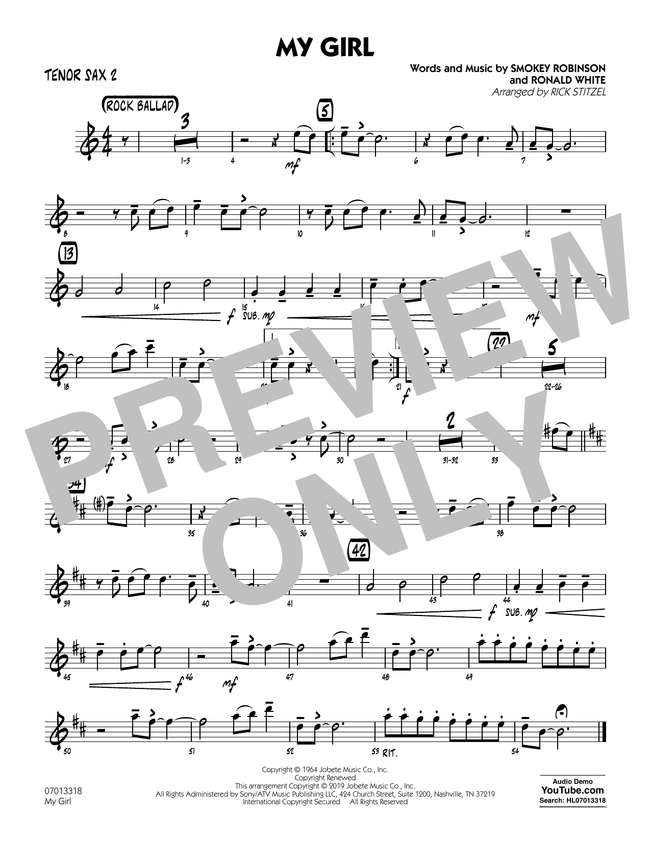 The Temptations My Girl (arr. Rick Stitzel) - Tenor Sax 2 sheet music preview music notes and score for Jazz Ensemble including 1 page(s)