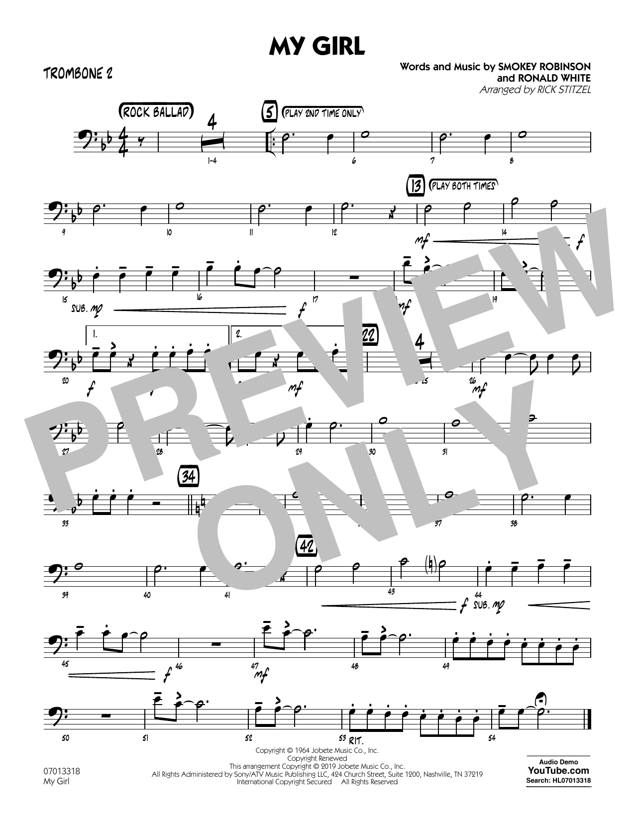 The Temptations My Girl (arr. Rick Stitzel) - Trombone 2 sheet music preview music notes and score for Jazz Ensemble including 1 page(s)