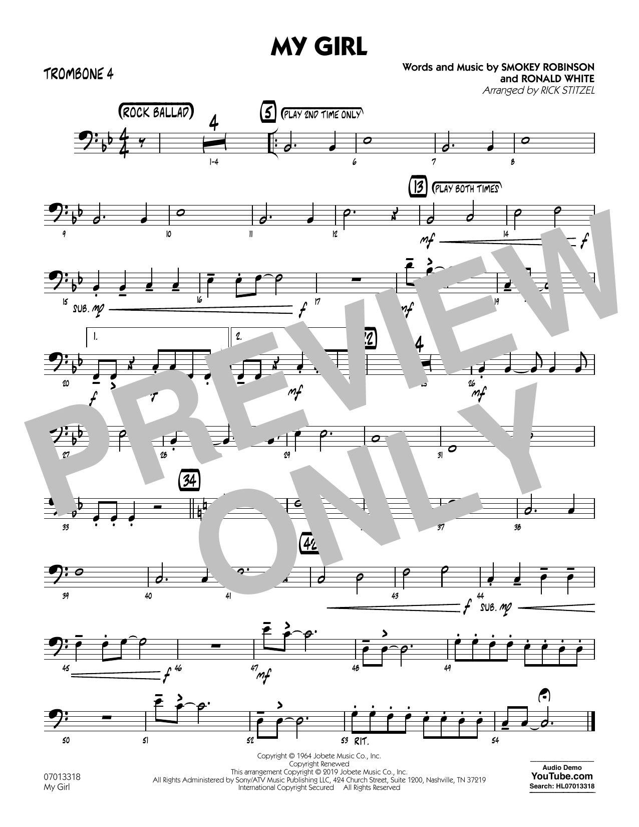 The Temptations My Girl (arr. Rick Stitzel) - Trombone 4 sheet music preview music notes and score for Jazz Ensemble including 1 page(s)