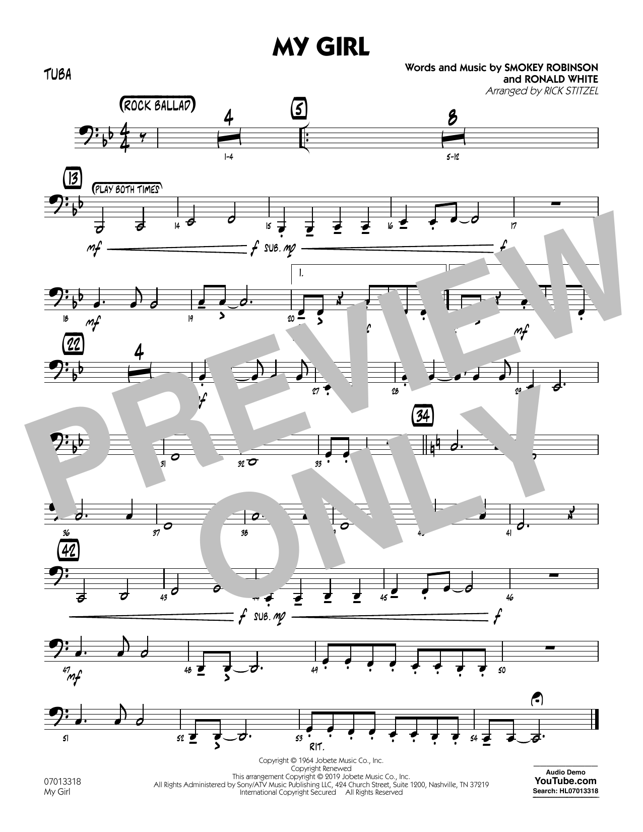 The Temptations My Girl (arr. Rick Stitzel) - Tuba sheet music preview music notes and score for Jazz Ensemble including 1 page(s)
