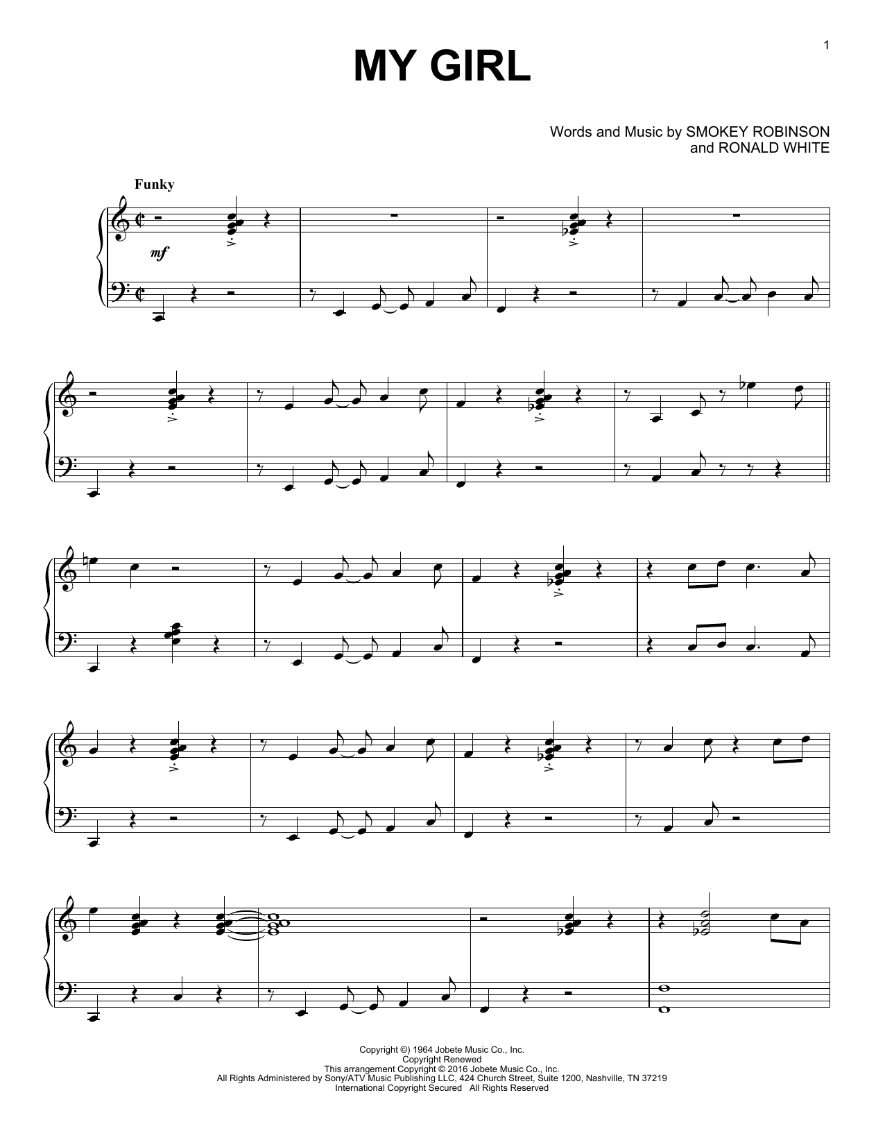 The Temptations My Girl sheet music notes and chords